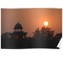Sunset at Taj Mahal Poster
