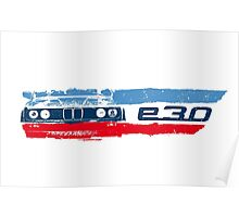 Grungy BMW E30 a front end with E30 badge in M colors Poster
