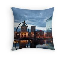 Gateway arch and The Courthouse building at dawn in St. Louis Throw Pillow