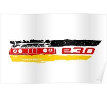 Grungy BMW E30 a front end with E30 badge in german flag colors Poster