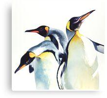 """""""Penguin Trio"""" Wildlife Watercolor Canvas Print"""