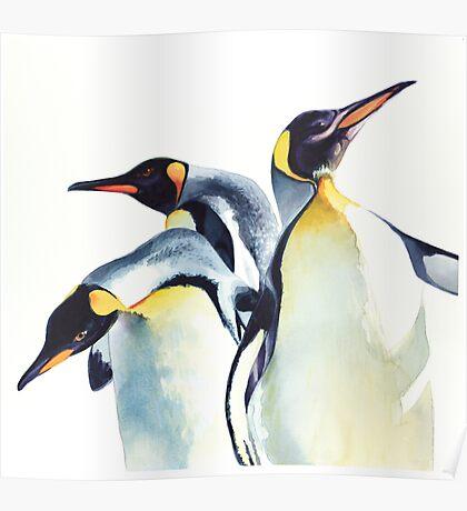 """Penguin Trio"" Wildlife Watercolor Poster"