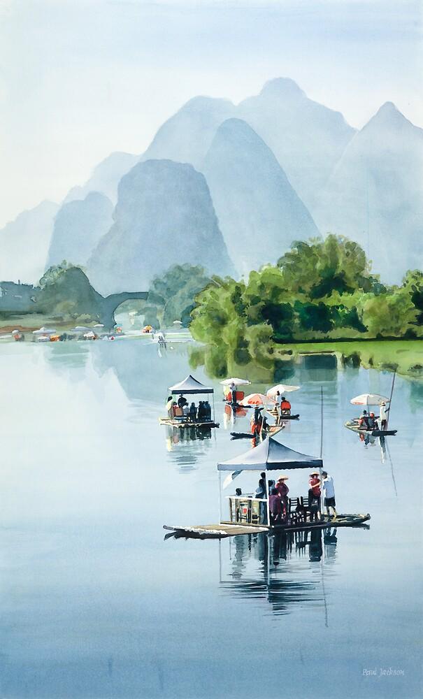 """Bamboo Rafting to Shangri La"" Watercolor by Paul Jackson"
