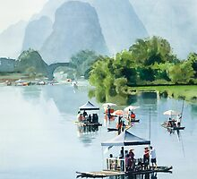 """Bamboo Rafting to Shangri La"" Watercolor by Paul Jackson"