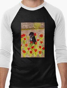Black Dog in Red Tulips Men's Baseball ¾ T-Shirt