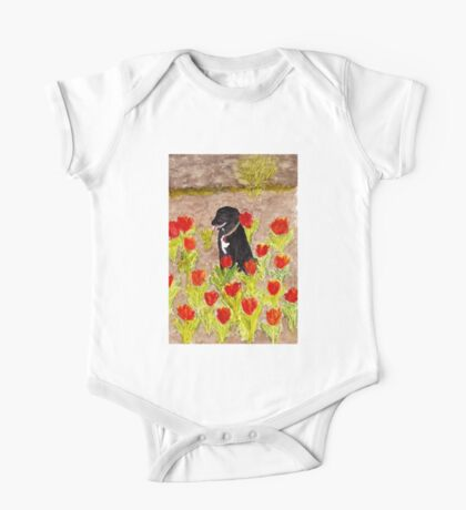Black Dog in Red Tulips One Piece - Short Sleeve