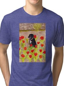 Black Dog in Red Tulips Tri-blend T-Shirt