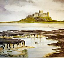Bamburgh Castle water colour by Woodie