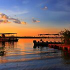 Sunset at the jetty, the Chobe River, Botswana , Africa. by photosecosse /barbara jones