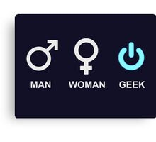 Man Woman Geek Computer Symbol Canvas Print