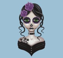 Sad Day of the Dead Girl on Purple Kids Clothes