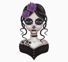 Sad Day of the Dead Girl on Purple Baby Tee