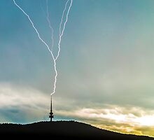 Lightning Strikes Tower During Storm by glennsphotos