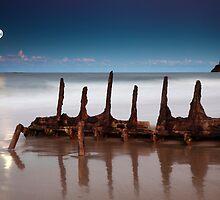 Moonrise over the wreck  by Garry Schlatter