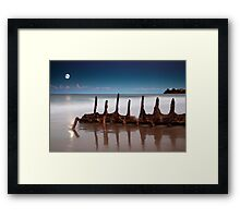 Moonrise over the wreck  Framed Print