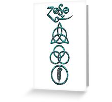 EXTREME DISTRESSED TRIQUETRA - teal minerals V Greeting Card