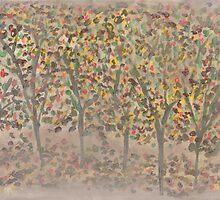 Trees in Autumn Mist by Helene Henderson