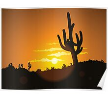 Cactus Sunset Poster