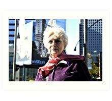 Old City Women In Street Light Art Print