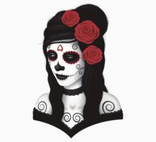 Day of the Dead Girl with Red Roses  One Piece - Short Sleeve
