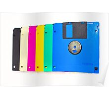 Colorful floppy discs Poster
