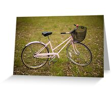 Pink Pedal Challenge 2015 - Support Jo and Ginny - bike in grass Greeting Card