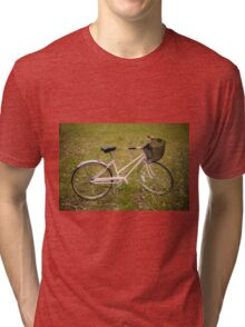 Pink Pedal Challenge 2015 - Support Jo and Ginny - bike in grass Tri-blend T-Shirt