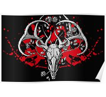 black and white deer skull with horns in graphic Poster