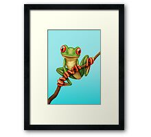 Cute Green Tree Frog on a Branch Framed Print