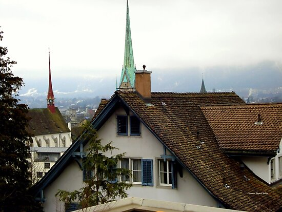 Rooftops in Zurich by Charmiene Maxwell-Batten