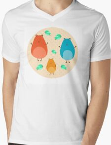 Cartoon funny hamsters Mens V-Neck T-Shirt