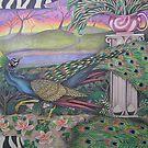 Peacock in garden by Jacquelyn Braxton