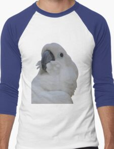 Ruffled Feathers Of A Blue Eyed Cockatoo Isolated Men's Baseball ¾ T-Shirt