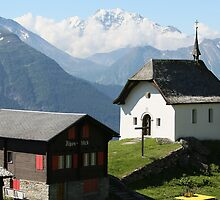 Famous chapel in Bettmeralp near Aletschglacier by Manfred Bruttel
