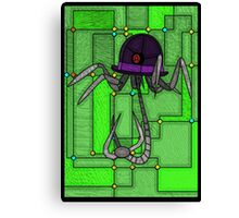 Robotic Bowler Hat - stained glass villains Canvas Print