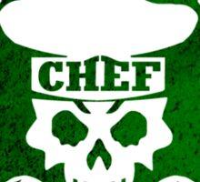 Pastry Chef Skull Logo Green Sticker