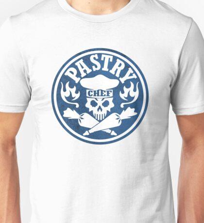 Pastry Chef Skull Logo Blue Unisex T-Shirt