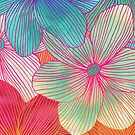 Between the Lines - tropical flowers in pink, orange, blue & mint by micklyn