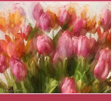 Scarf with tulips by Ellen van Deelen