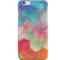Between the Lines - tropical flowers in pink, orange, blue & mint iPhone Case/Skin