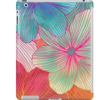 Between the Lines - tropical flowers in pink, orange, blue & mint iPad Case/Skin