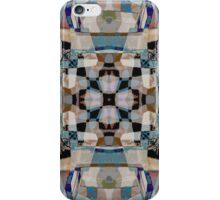 Rosette and Cross Medieval Stained Glass Window Tiled Design Modern Geometric Muted Colors iPhone Case/Skin