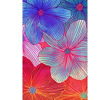 Between the Lines 2 - tropical flowers in purple, pink, blue & orange Photographic Print