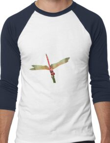 Closeup of Red Skimmer or Firecracker Dragonfly Isolated Men's Baseball ¾ T-Shirt