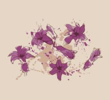 Hyacinth flowers in purple color with smudges of paint T-Shirt