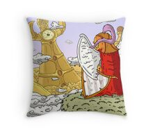 Gazing at the golden City Throw Pillow