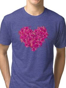 heart made of flowers Tri-blend T-Shirt