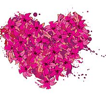heart made of flowers Photographic Print