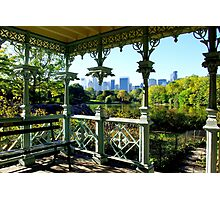 Central Park New York, Wedding Gazebo, View on Manhattan Photographic Print