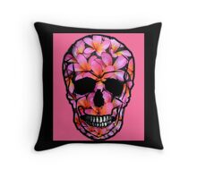 Skull with Pink Frangipani Flowers Throw Pillow